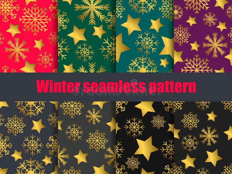 Sneeuwvlokken en sterrenreeks naadloze patronen met een gouden gradiënt Inzameling van de winterachtergronden Het effect van Boke royalty-vrije illustratie