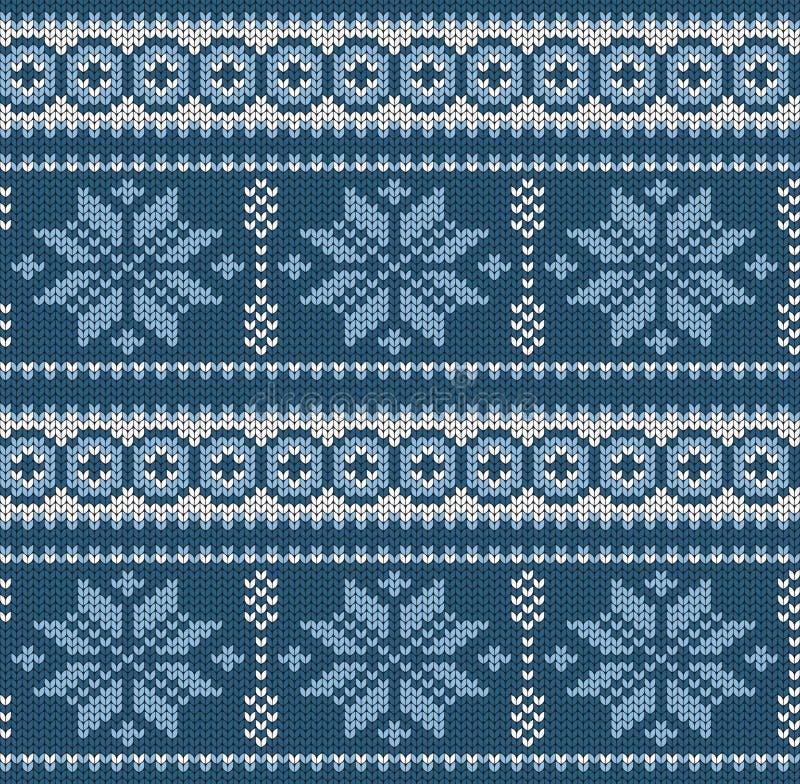 Sneeuwvlokken Geometrische achtergrond Naadloze decoratieve achtergrond Jacquardweefsel Gebreid patroon voor sweater, sokken vector illustratie