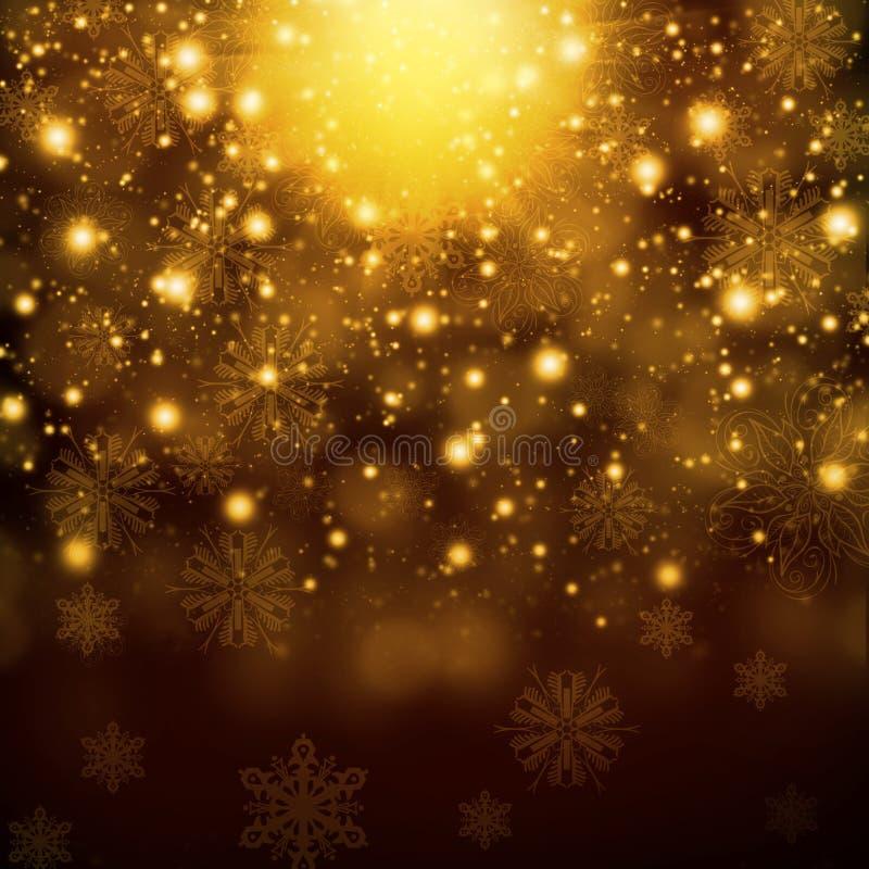 Sneeuwvlokken op abstracte gouden achtergrond stock illustratie