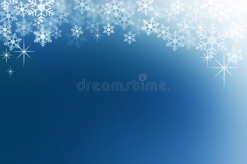 Sneeuwvlokken op achtergrond van de middernacht de blauwe abstracte winter stock fotografie