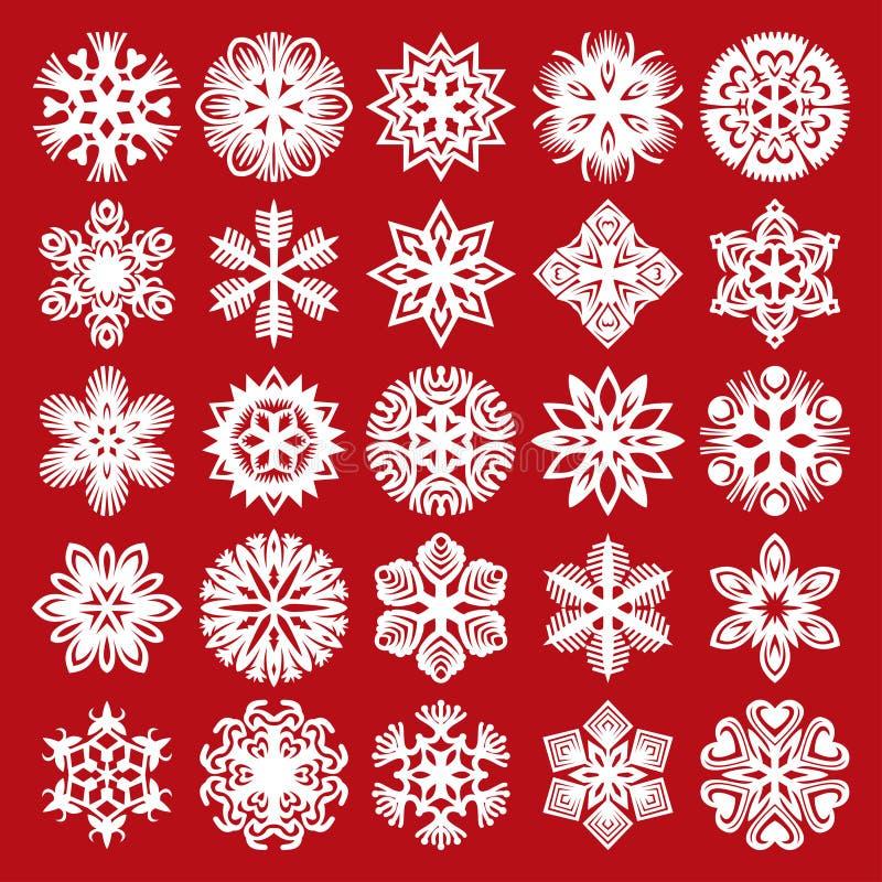 Sneeuwvlokken op blauw Wit op rood (plaats 2) vector illustratie