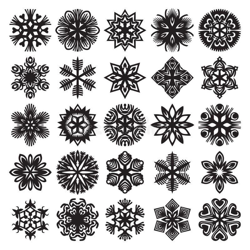 Sneeuwvlokken op blauw Zwarte op Wit Reeks 2 royalty-vrije illustratie