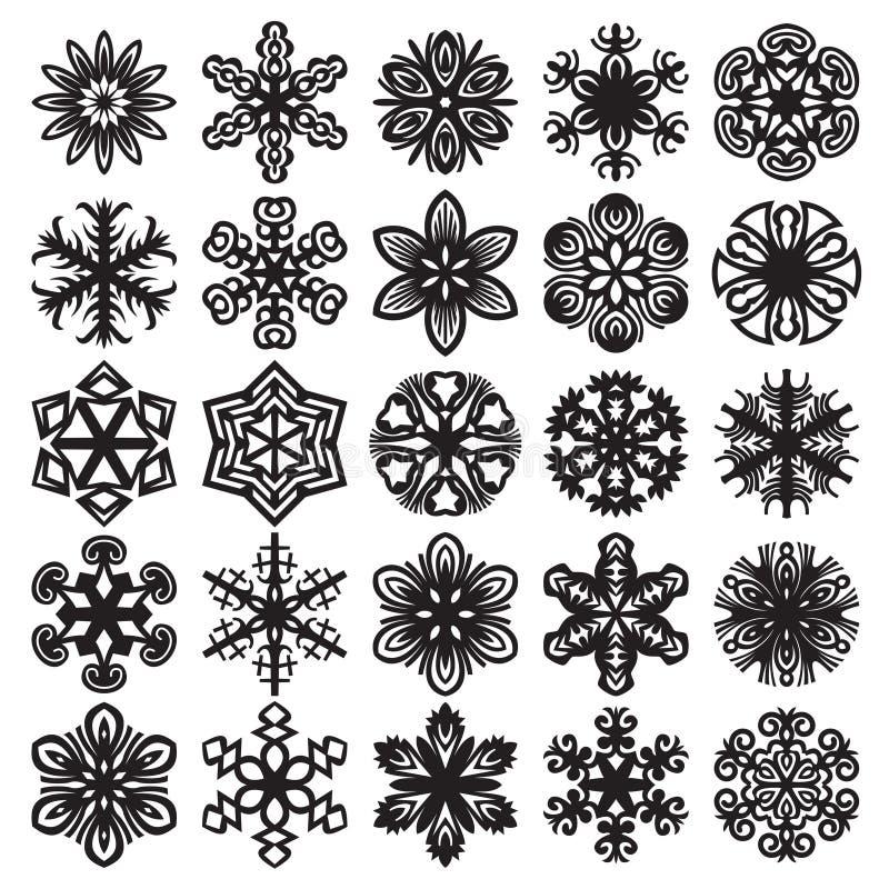 Sneeuwvlokken op blauw Zwarte op Wit Reeks 1 vector illustratie