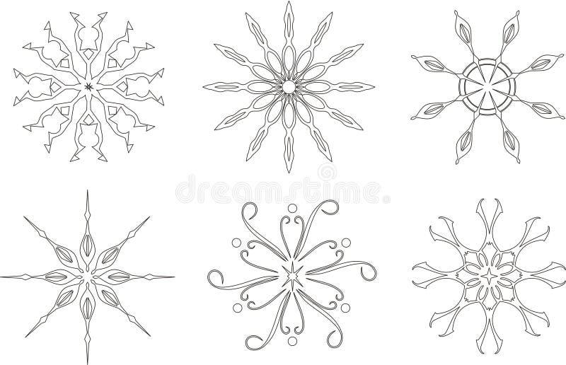 Sneeuwvlokken op de witte achtergrond royalty-vrije illustratie