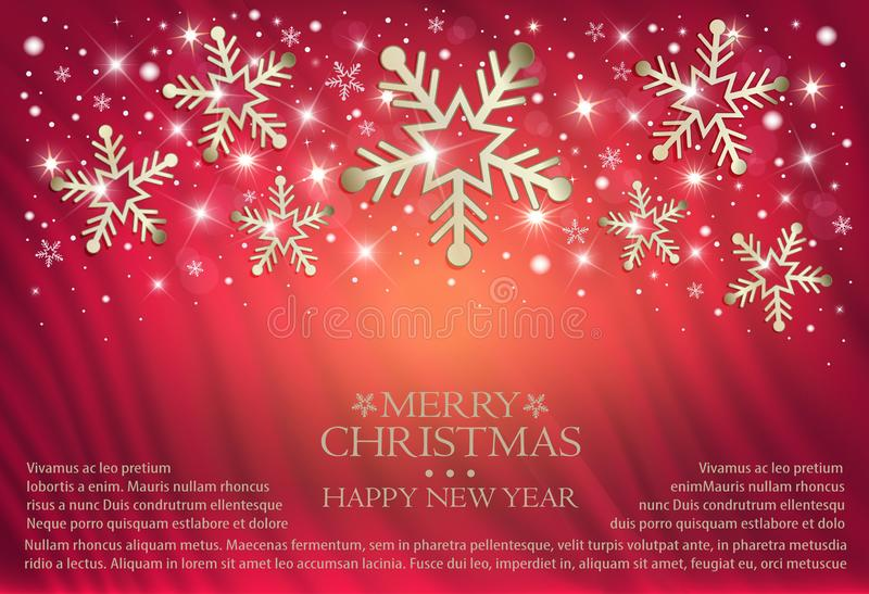 Sneeuwvlokken op een rode achtergrond van een gordijn, gelukwensen op vrolijke Kerstmis royalty-vrije illustratie