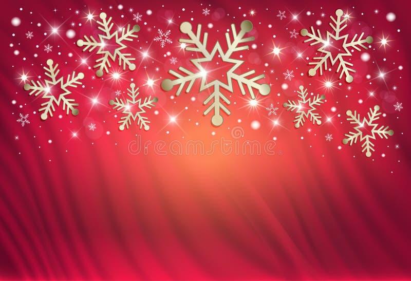 Sneeuwvlokken op een rode achtergrond van een gordijn, gelukwensen op vrolijke Kerstmis stock illustratie