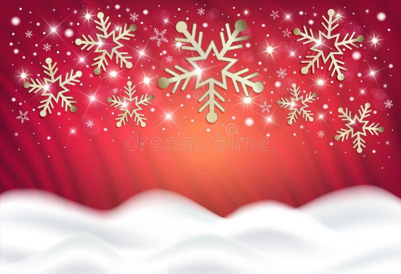 Sneeuwvlokken op een rode achtergrond van een sneeuwbank, gelukwensen op vrolijke Kerstmis royalty-vrije illustratie