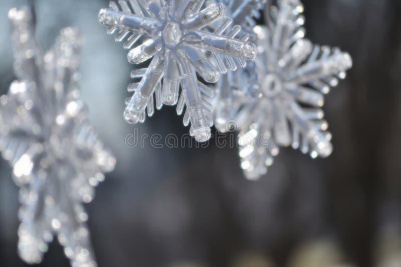 Sneeuwvlokken; Sluit omhoog van Kerstmisdecoratie stock foto