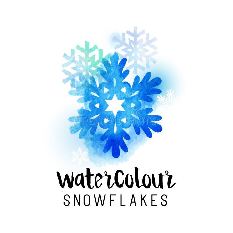 Sneeuwvlokken van de winter de abstracte watercolour stock illustratie