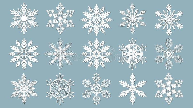 Sneeuwvlokken voor ontwerpkunstwerk De laser sneed patroon voor Kerstmisdocument kaarten, ontwerpelementen, het scrapbooking Vect royalty-vrije illustratie