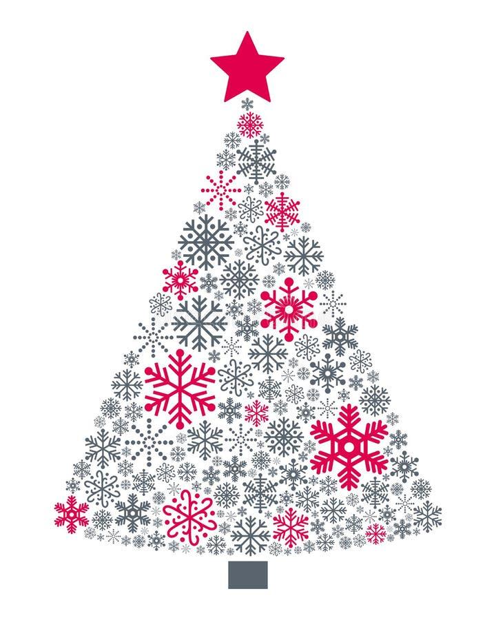 Sneeuwvlokkenkerstboom royalty-vrije illustratie