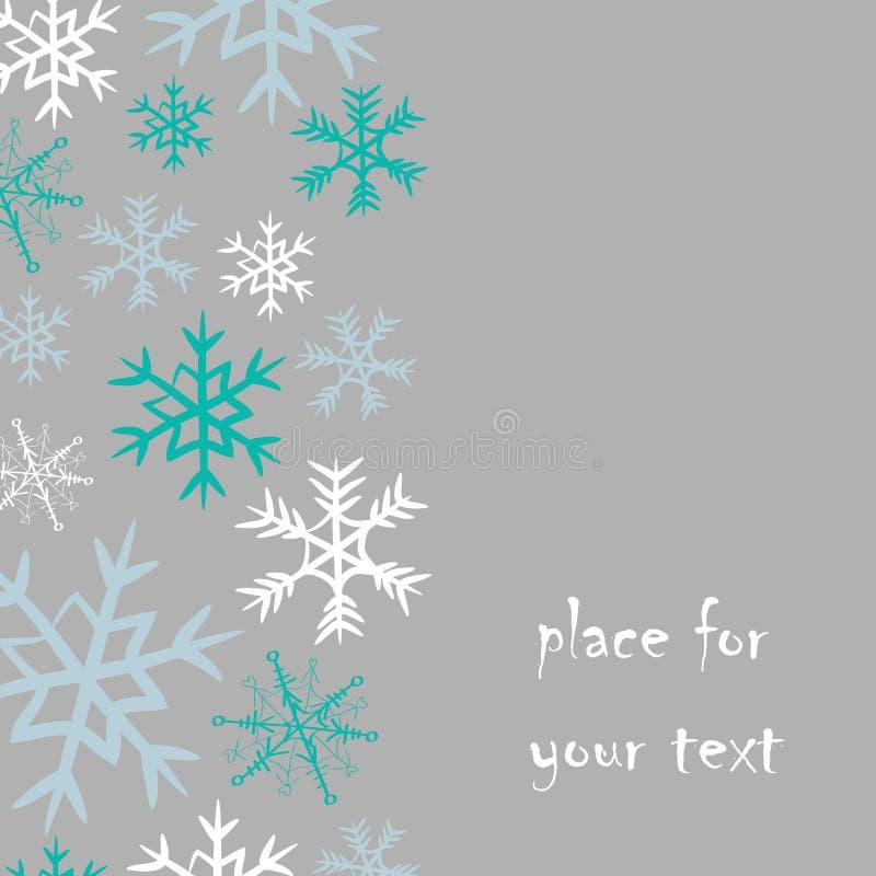 Sneeuwvlokkenstreep op de linkerkant met plaats voor uw tekst Vectorillustratie van blauwe en witte sneeuwvlokken op grijze achte vector illustratie
