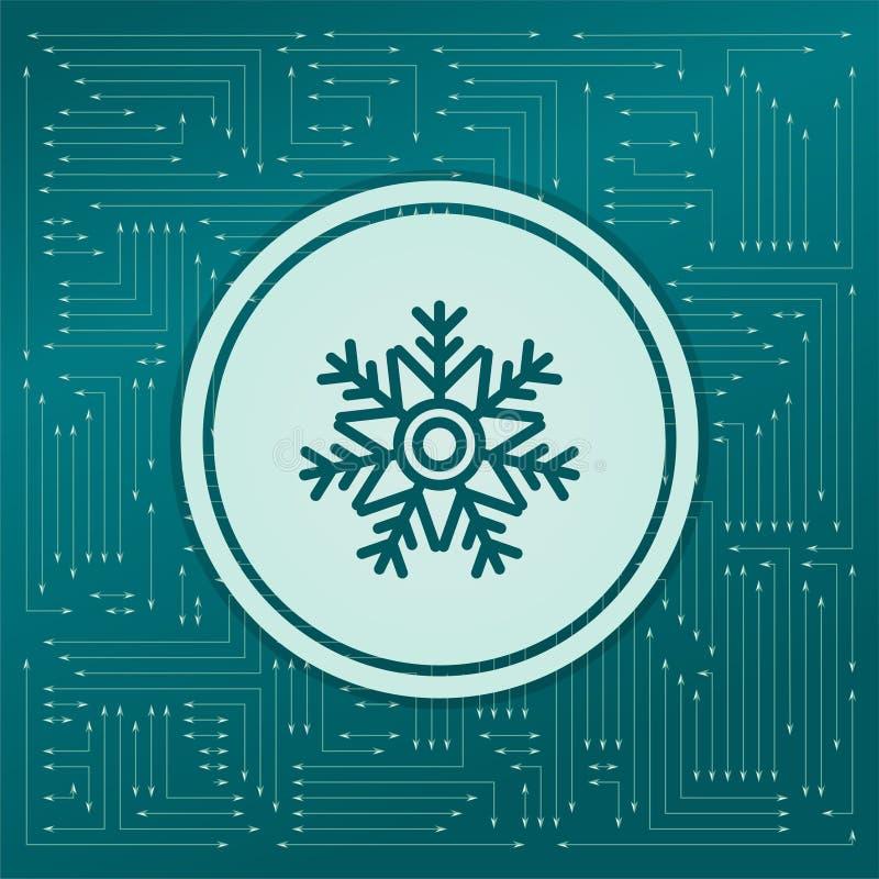 Sneeuwvlokpictogram op een groene achtergrond, met pijlen in verschillende richtingen Het verschijnt op de elektronische raad royalty-vrije illustratie
