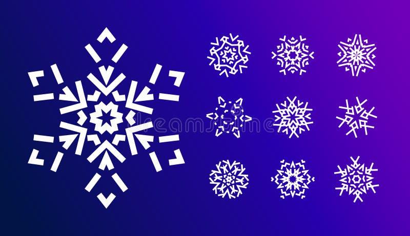 Sneeuwvlokpictogrammen met geometrische vormen voor Kerstmisornamenten worden geplaatst voor koude de vakantiekaarten die van de  royalty-vrije illustratie