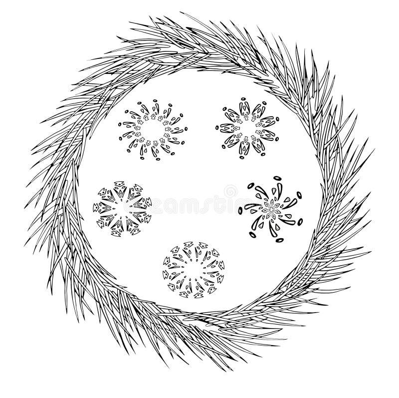 Sneeuwvlokreeks van geometrische vormen en de kroon van de pijnboomboom Kerstmis Nieuwe jaaruitnodiging stock illustratie