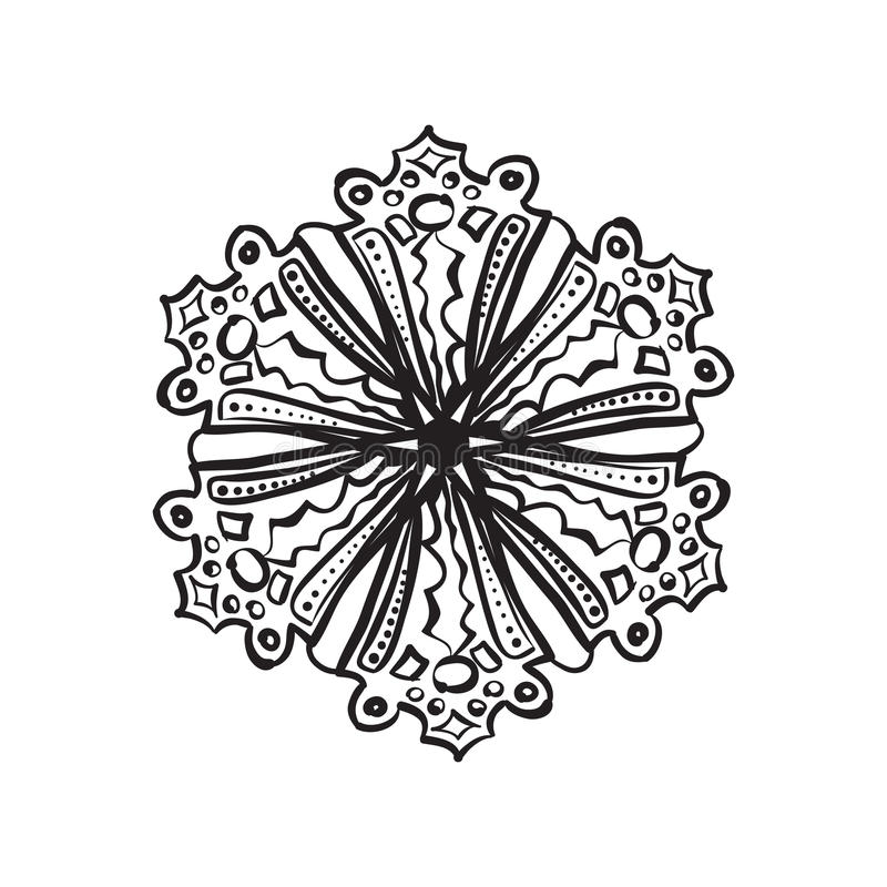 Sneeuwvlokschets stock illustratie