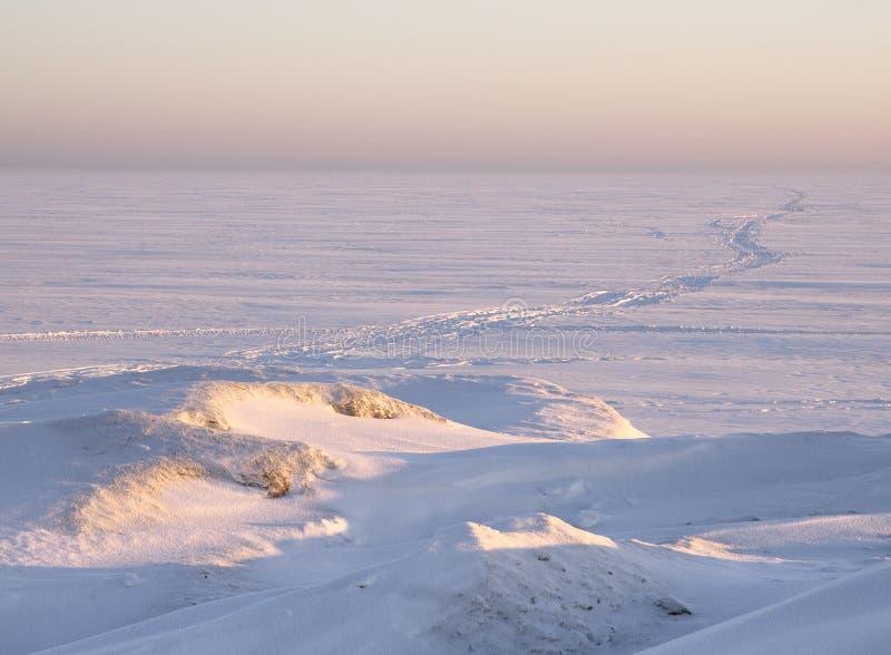 Sneeuwweg aan de horizon stock foto's