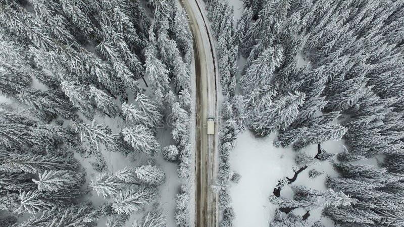 Sneeuwweg met een Auto in het Bos royalty-vrije stock foto