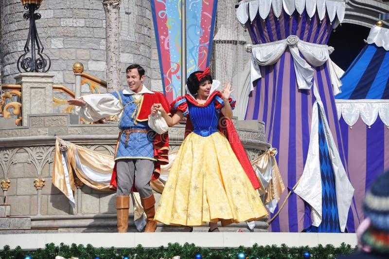 Sneeuwwitje en Prins in de Wereld van Disney stock fotografie