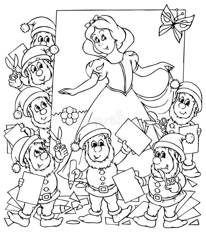 Sneeuwwitje en zeven dwergen stock illustratie