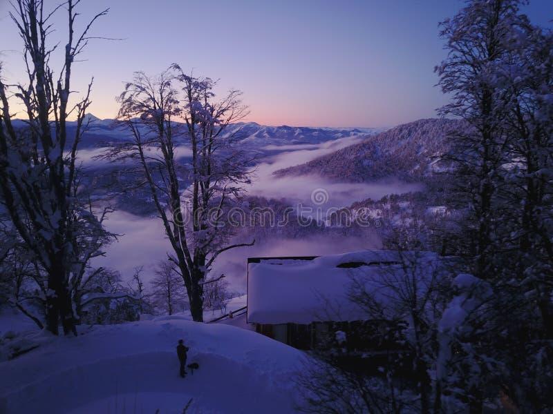 Sneeuwzonsondergang Patagonië stock foto's
