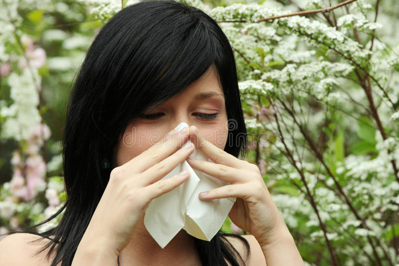 Sneeze bonito da mulher fotos de stock