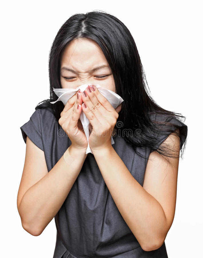 Sneeze girl. Over white background stock image