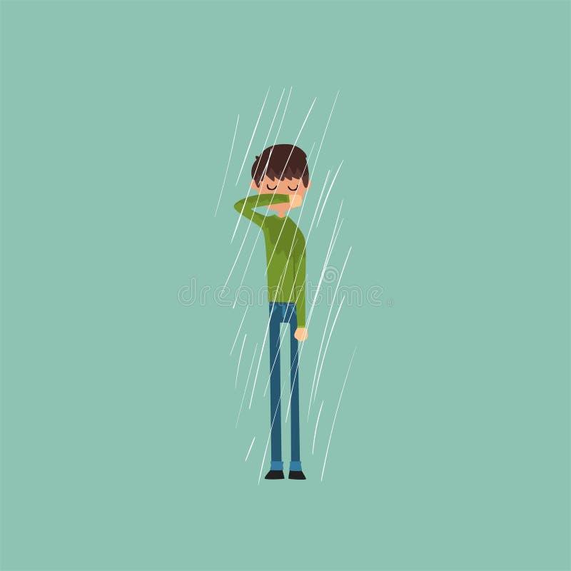 Sneezing boy freezing over autumn rain vector Illustration. Flat style vector illustration