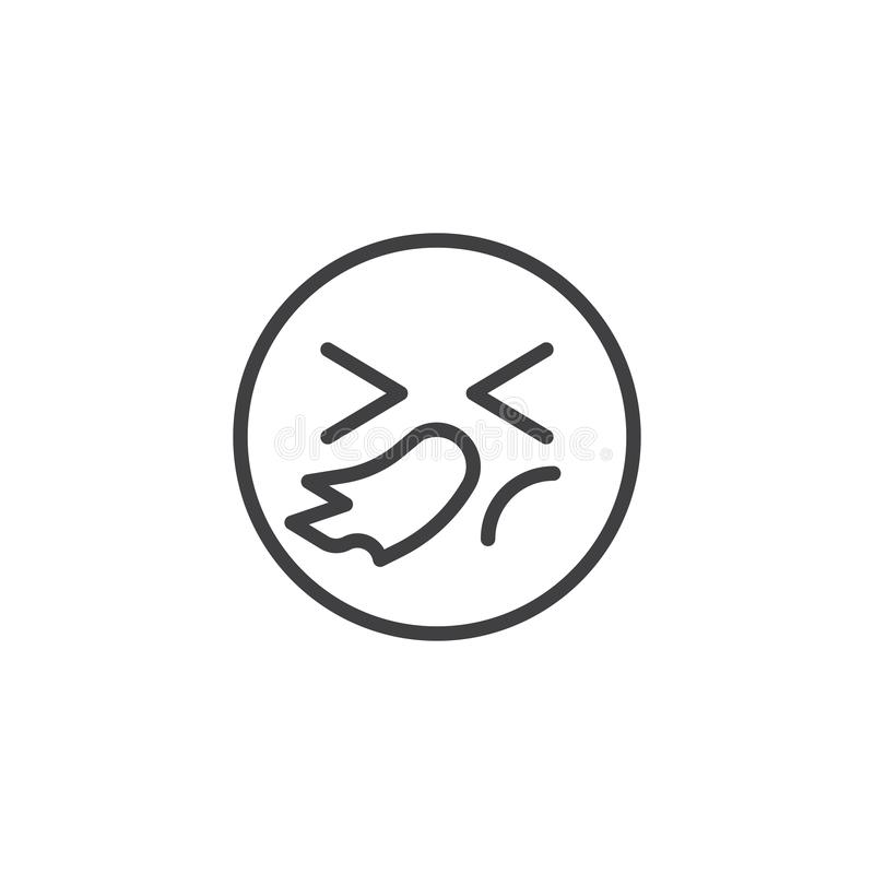 Sneezing face emoji line icon. Linear style sign for mobile concept and web design. Illness emoticon outline vector icon. Symbol, logo illustration. Vector vector illustration