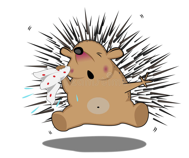 Sneezing hedgehog stock illustration
