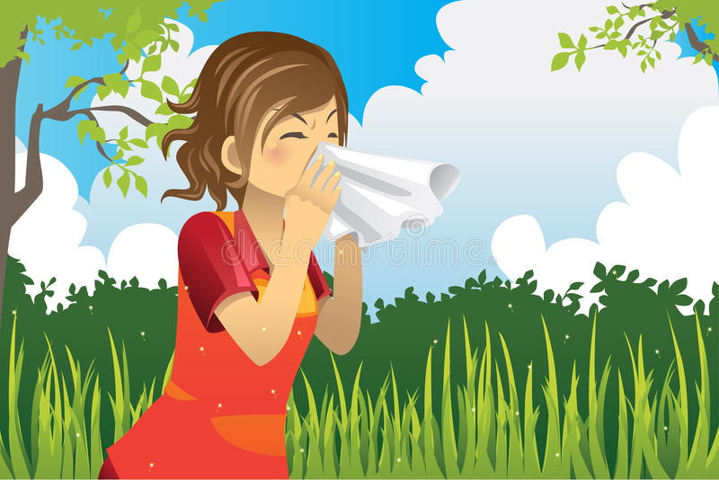 Sneezing woman stock illustration