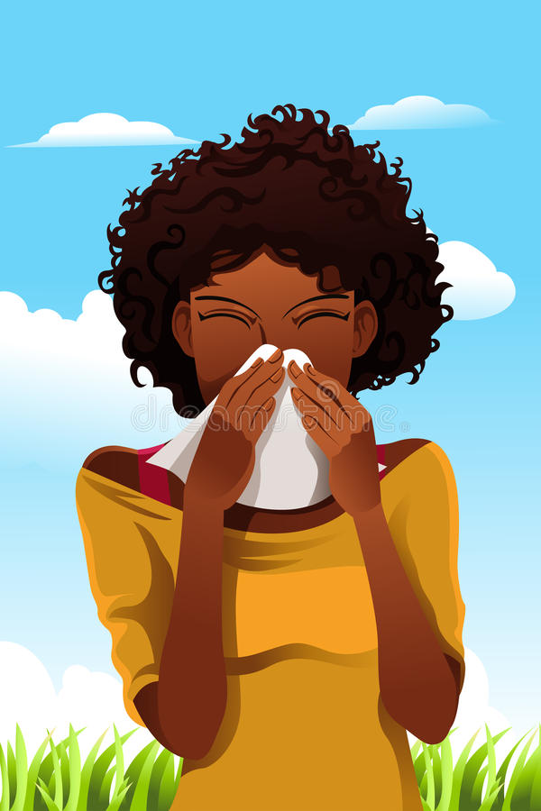 Download Sneezing woman stock vector. Image of lady, cold, drawing - 22642312