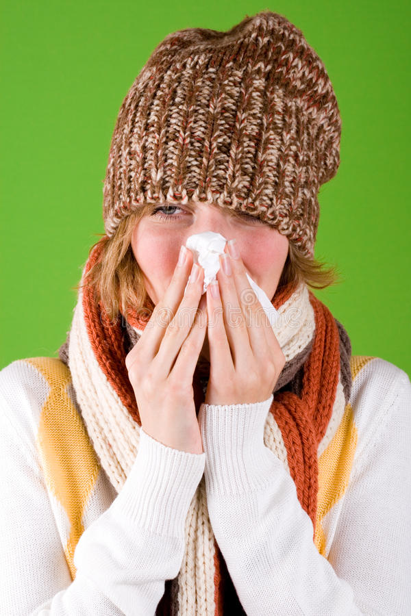 Download Sneezing Woman With Handkerchief Stock Photo - Image: 16911334