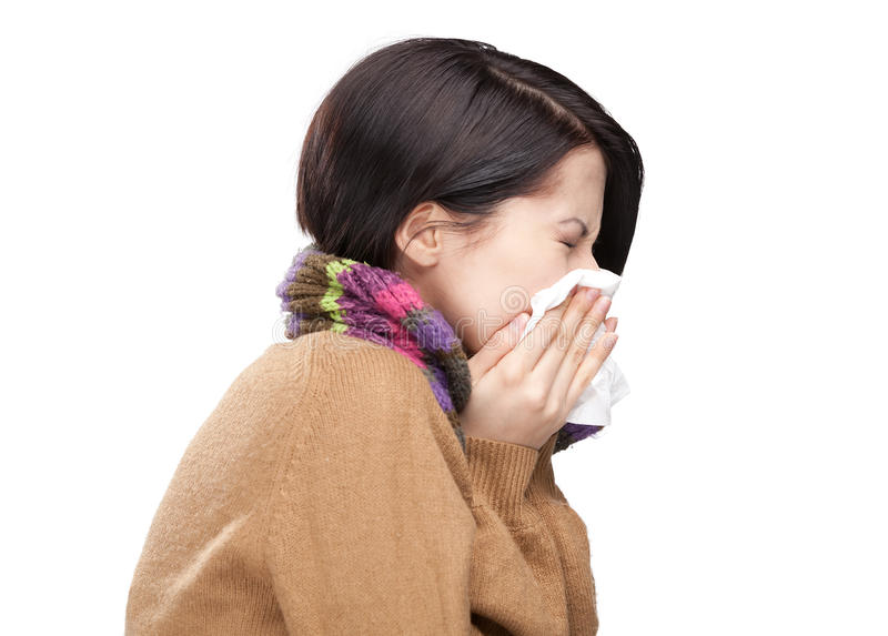 Download Sneezing Young Woman Holding Wipe Stock Image - Image: 26419059