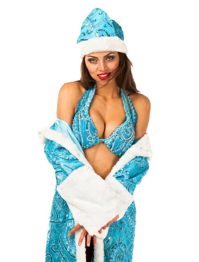 Snegurochka ruso Mujer joven en el traje de la criada de la nieve imágenes de archivo libres de regalías