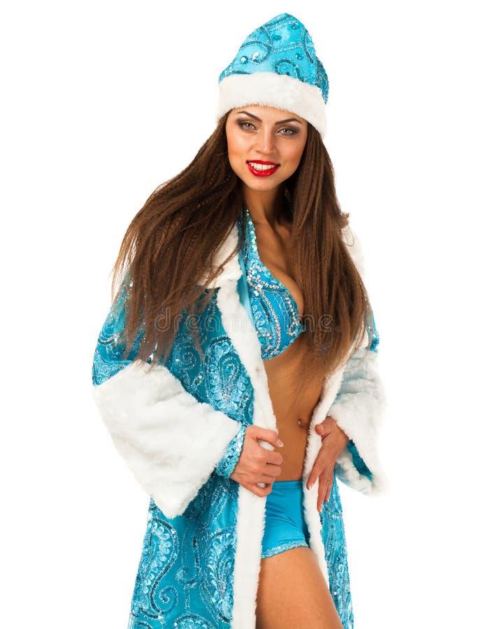 Snegurochka ruso Mujer joven en el traje de la criada de la nieve foto de archivo