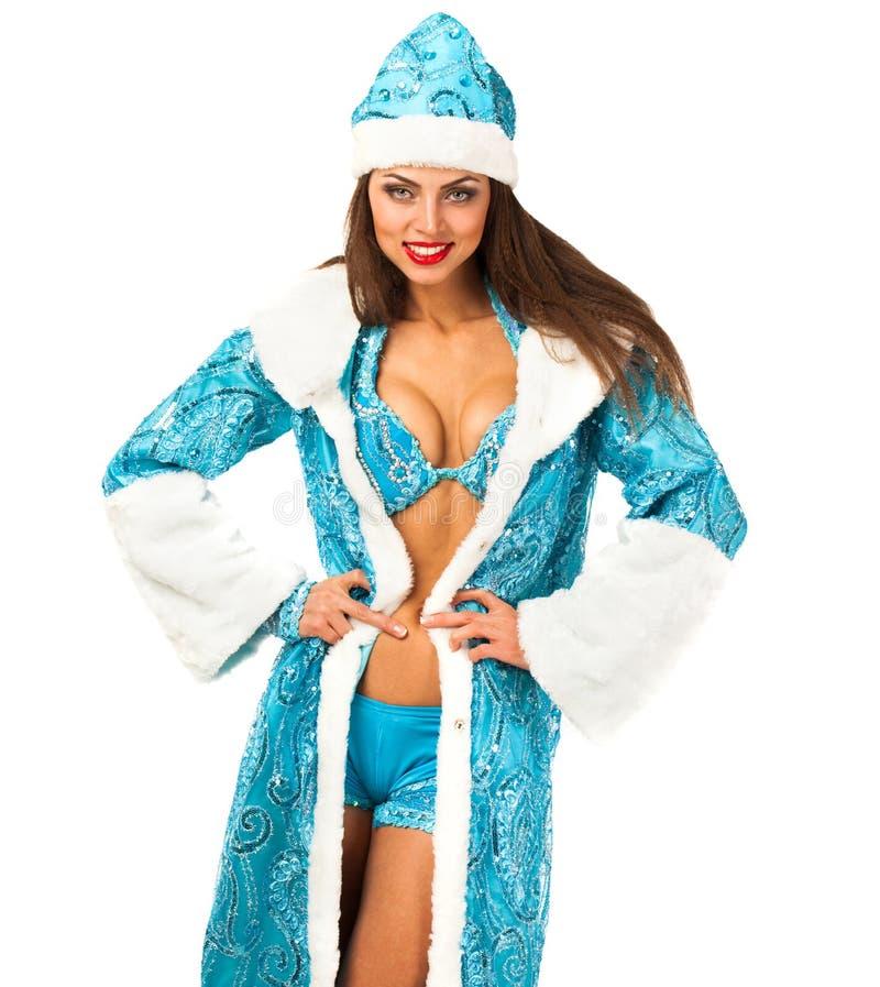 Snegurochka ruso Mujer joven en el traje de la criada de la nieve imagen de archivo