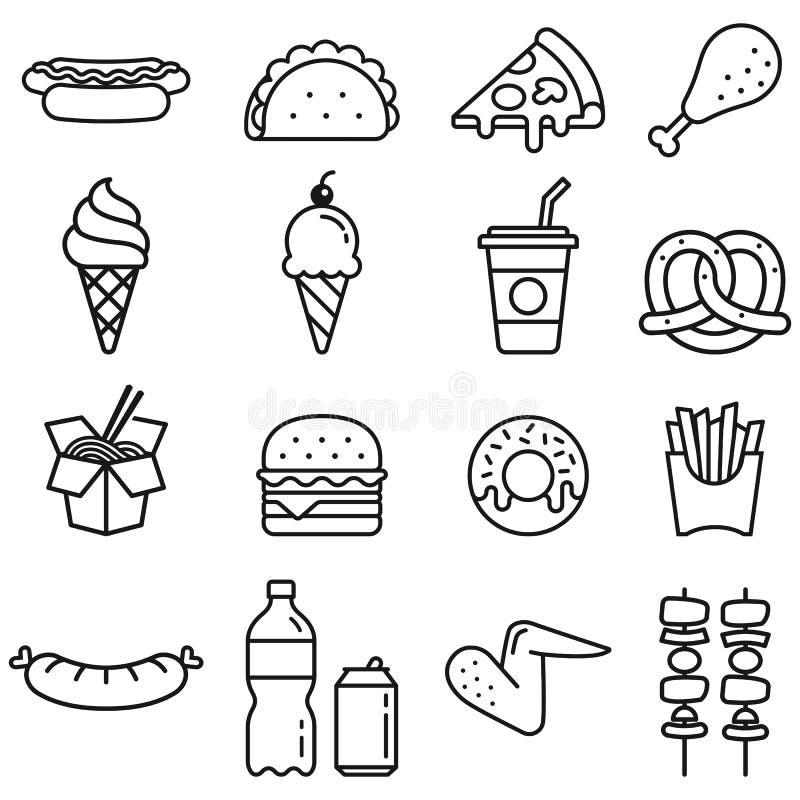 snel geplaatste voedselpictogrammen Vector graphhics stock illustratie