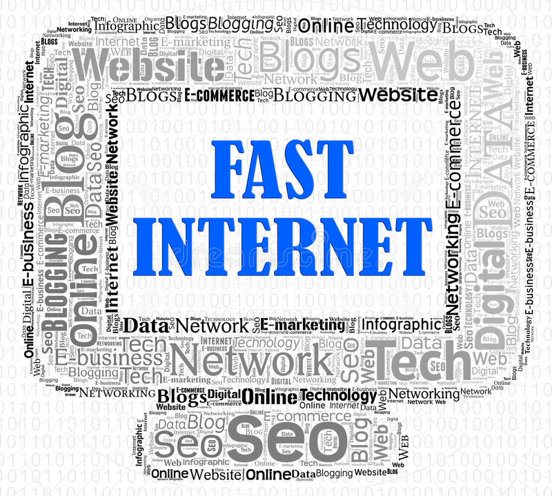 Snel Internet wijst op Hoge snelheid en Computers royalty-vrije illustratie