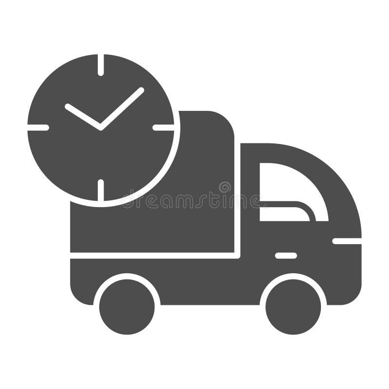 Snel leverings stevig pictogram De uitdrukkelijke vectordieillustratie van de autolevering op wit wordt geïsoleerd Vrachtwagen he vector illustratie