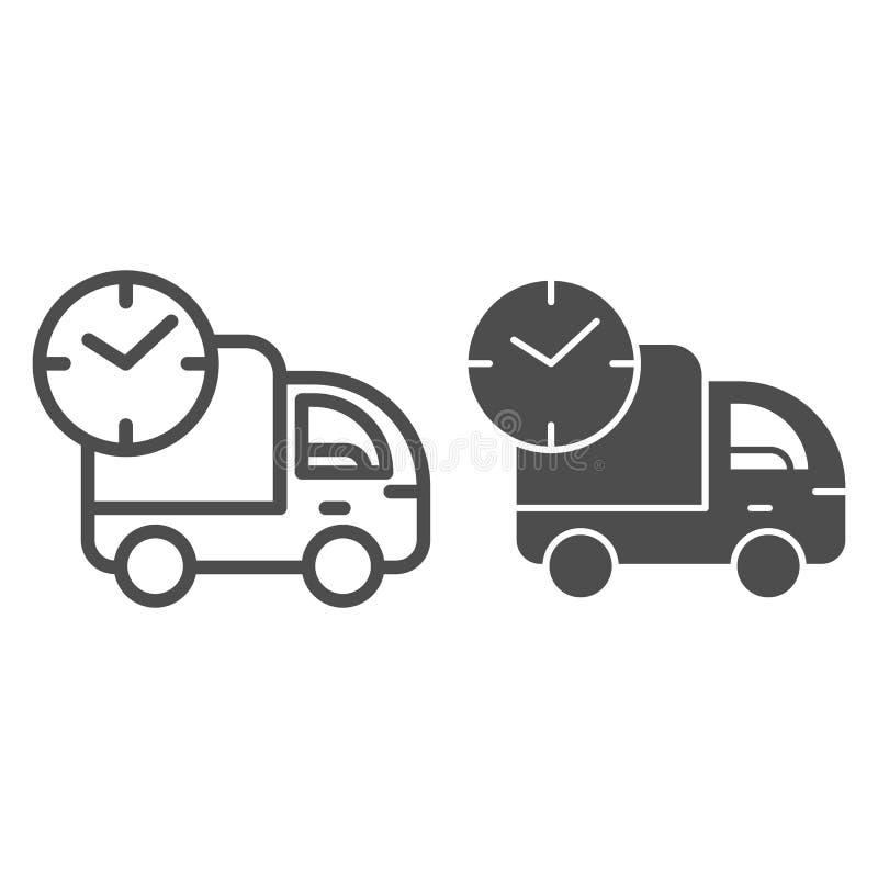Snel leveringslijn en glyph pictogram De uitdrukkelijke vectordieillustratie van de autolevering op wit wordt geïsoleerd Vrachtwa vector illustratie