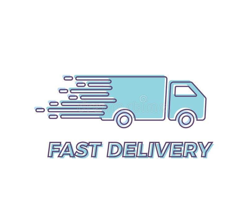 Snel Lijndienstpictogram met vrachtwagen die snelle Vector in overzichtsillustratie voor uitdrukkelijke leveringsconcepten drijve stock illustratie