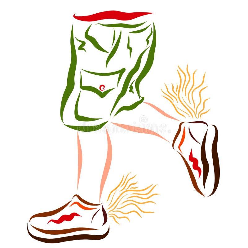 Snel lopende baby, die in gevleugelde schoenen spelen stock illustratie