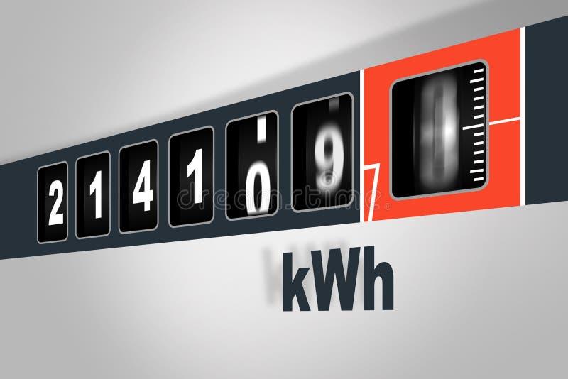 Snel lopende elektriciteitsmeter - het concept van de machtsconsumptie vector illustratie