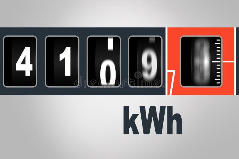 Snel lopende elektriciteitsmeter - het concept van de machtsconsumptie stock illustratie