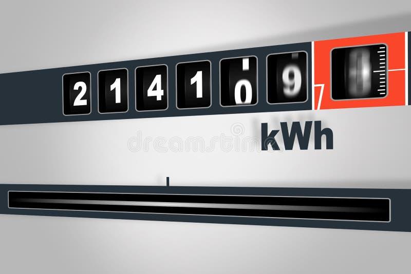 Snel lopende elektriciteitsmeter - het concept van de machtsconsumptie royalty-vrije illustratie