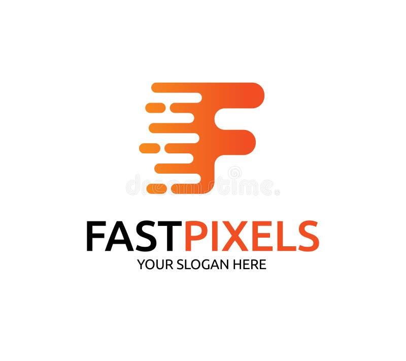 Snel Pixel Logo Template stock illustratie