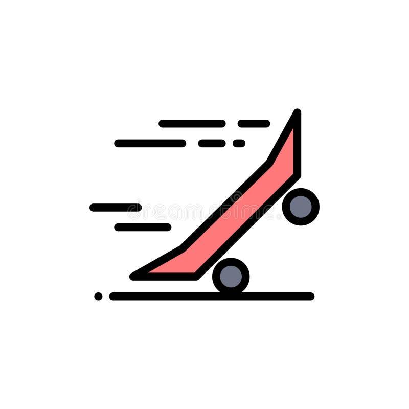 Snel, rijdt de Rit, het Berijden, Skateboard, Vlak Kleurenpictogram met een skateboard Het vectormalplaatje van de pictogrambanne royalty-vrije illustratie