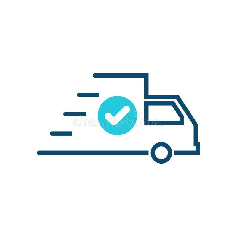 Snel verschepend pictogram, het pictogram van de leveringsvrachtwagen met controleteken Bevestigt het snel verschepende pictogram stock illustratie