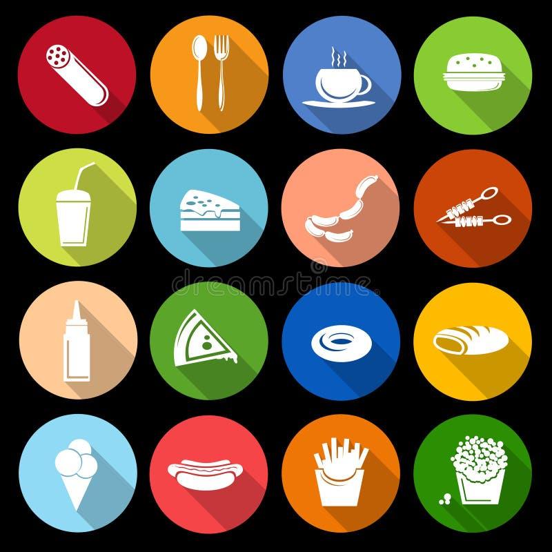 Snel vlak voedselpictogram vector illustratie